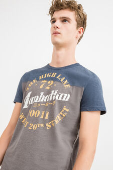 Printed lettering cotton and rayon T-shirt, Blue, hi-res