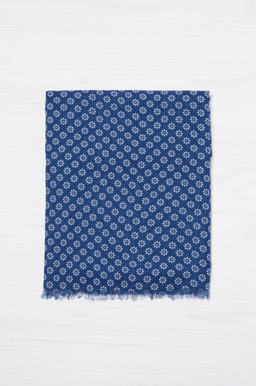 Fringed floral scarf, Blue, hi-res