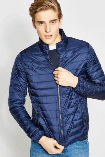 Solid colour down jacket with high neck, Navy Blue, hi-res