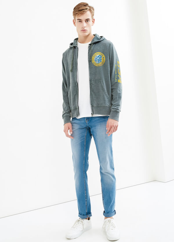 Mis-dyed effect cotton blend sweatshirt | OVS