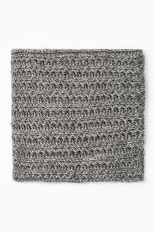 Knitted neck warmer with lurex, Grey Marl, hi-res
