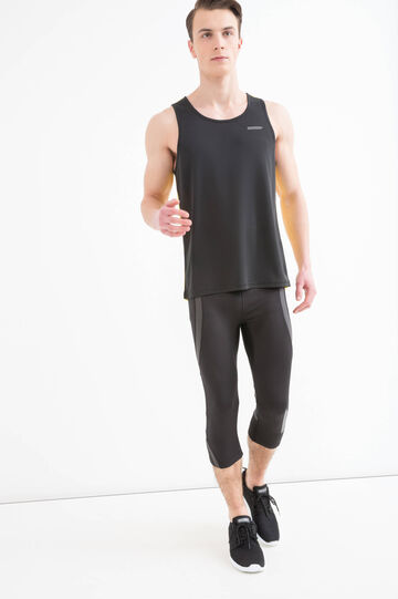Pantaloni sportivi a tre quarti stretch, Nero, hi-res