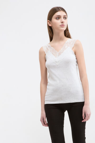 100% cotton top with lace, Grey, hi-res