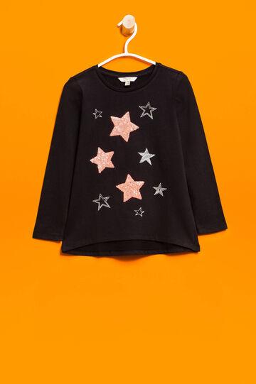 Camiseta con bajo redondeado, Negro, hi-res