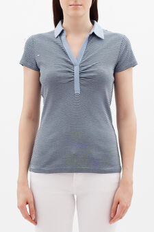 Striped polo shirt with V-neck., Blue/Grey, hi-res