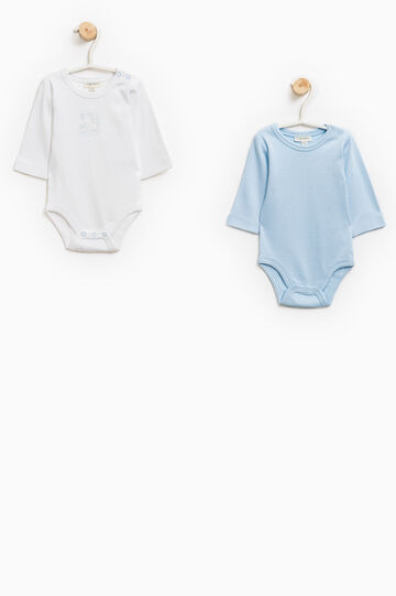 Set of two solid colour bodysuits wirth rabbit motif, Light Blue, hi-res