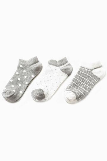 Set tre paia di calze corte fantasia, Bianco/Grigio, hi-res