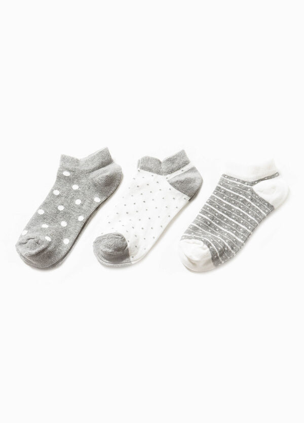 Three-pair pack short patterned socks | OVS