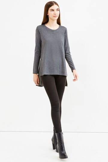 Stretch viscose T-shirt with side splits, Dark Grey Marl, hi-res