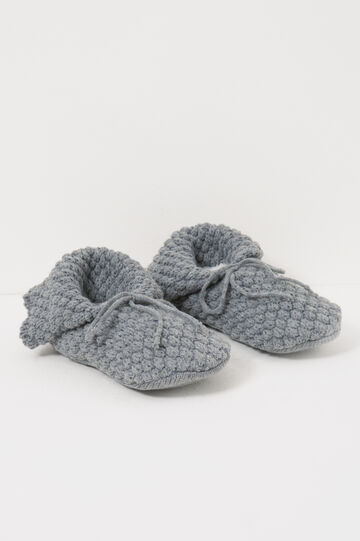 Pantofole tricot tinta unita, Grigio scuro, hi-res