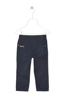 Plain 100% cotton trousers., Navy Blue, hi-res