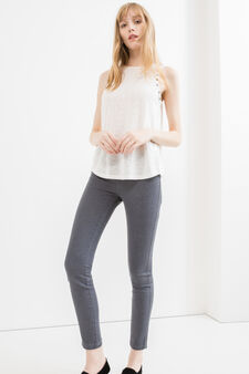 Stretch jeggings with high waist, Grey, hi-res