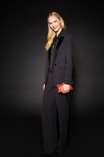 Stretch jacket with velvet collar, Black, hi-res