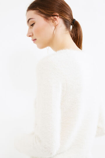 Pullover with knitted motif, White, hi-res