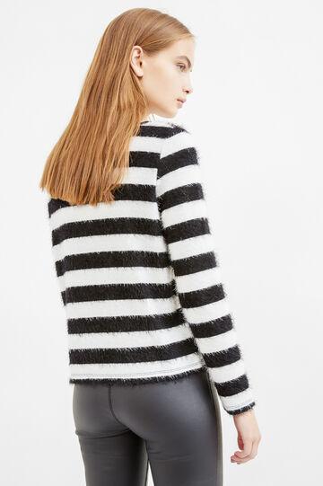 Boat neck striped pullover, White/Black, hi-res