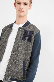 G&H cotton sweatshirt with contrasting sleeves, Grey Marl, hi-res