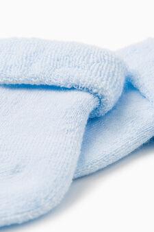 Calze corte misto cotone tinta unita, Azzurro, hi-res