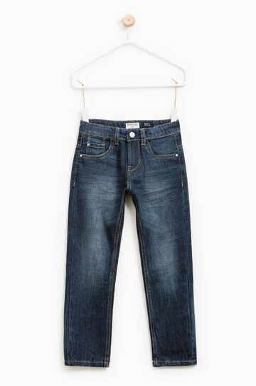 Worn-effect jeans with fading, Dark Blue, hi-res