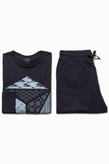 100% cotton pyjamas with raw edges, Navy Blue, hi-res