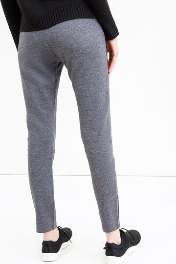 Cotton blend joggers with drawstring, Black/Grey, hi-res
