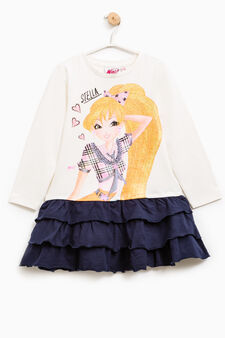 Stretch cotton dress with Winx print, White/Blue, hi-res