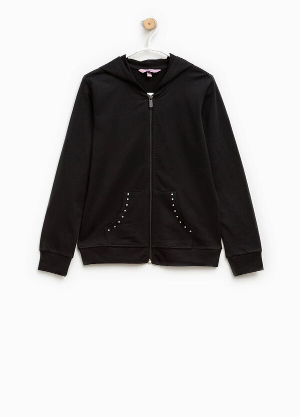 Cotton hoodie with diamantés | OVS