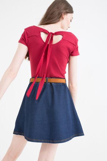 T-shirt puro cotone lacci retro, Rosso, hi-res
