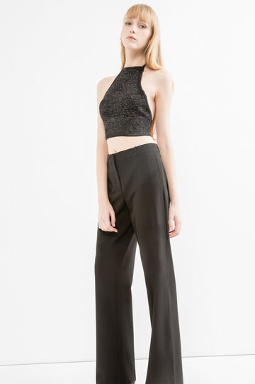 Viscose and lurex blend cropped top, Black, hi-res