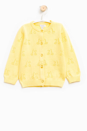 Knitted openwork cardigan, Yellow, hi-res