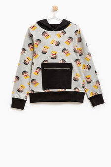Cotton hoodie with Paul Frank pattern, Black/Grey, hi-res