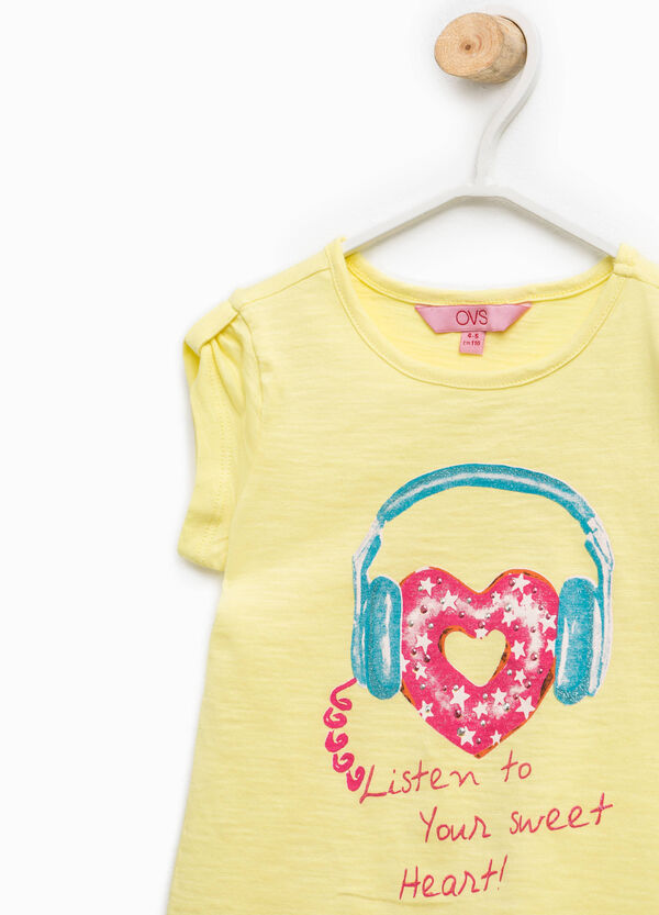 T-shirt with cap sleeves and print   OVS