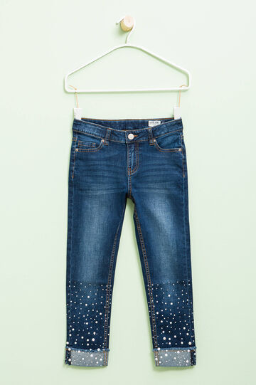 Diamanté jeans with super-skinny fit, Medium Wash, hi-res