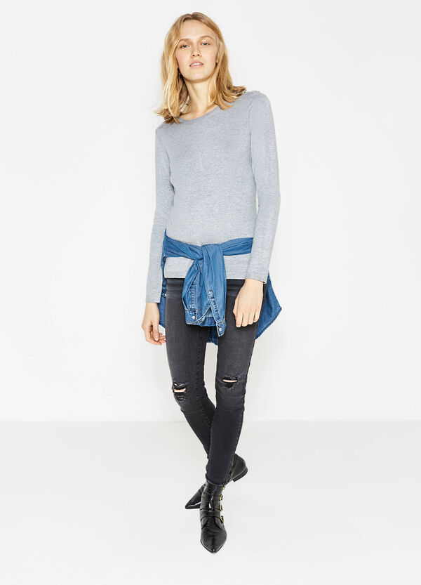 Pullover in viscose blend with studs | OVS