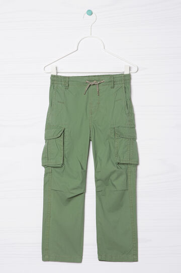 Solid colour 100% cotton trousers, Green, hi-res