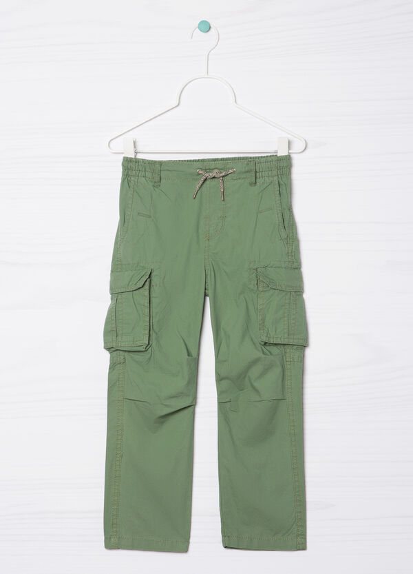 Solid colour 100% cotton trousers | OVS