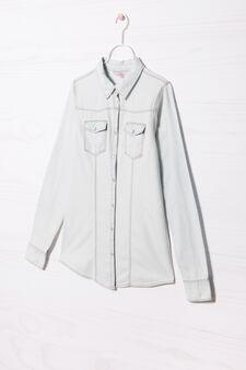 Denim shirt with applied pockets, Soft Blue, hi-res