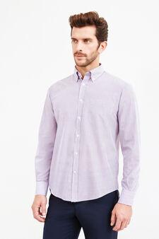 Camicia formale regular fit fantasia righe, Viola lilla, hi-res