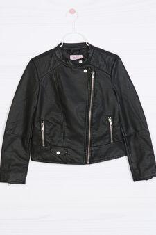Leather-look 100% viscose jacket, Black, hi-res