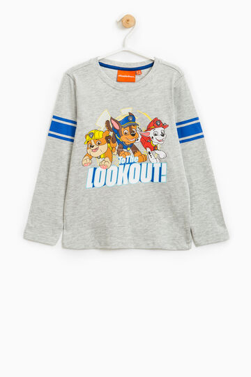 Cotton T-shirt with Paw Patrol print, Grey Marl, hi-res