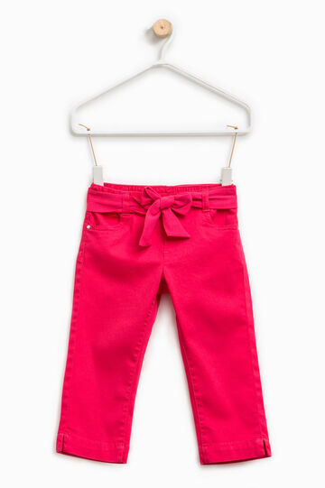Stretch trousers decorated with belt and bow
