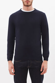 Crew neck pullover in silk and cashmere., Navy Blue, hi-res