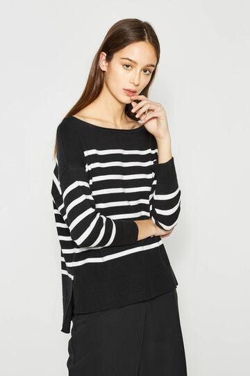 Striped stretch cotton pullover, Black/White, hi-res