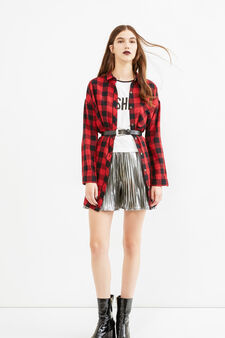 Viscose and cotton blend check shirt, Black/Red, hi-res