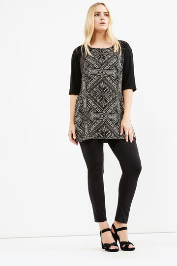 Curvy short printed dress, Black, hi-res