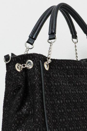 Patterned handbag with chain handles, Black, hi-res