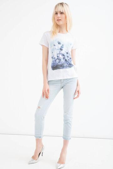 T-shirt misto cotone inserto pizzo, Bianco, hi-res
