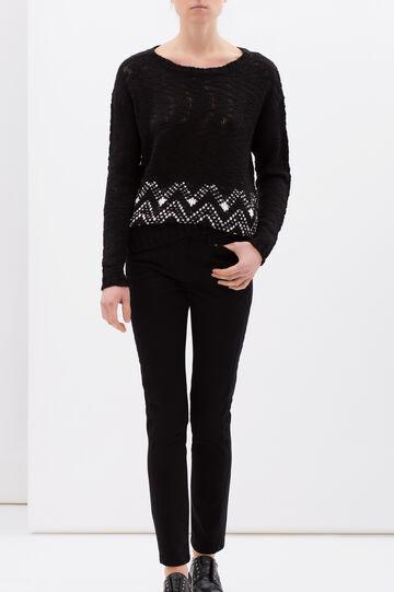 Regular fit stretch cotton trousers, Black, hi-res