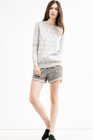 Mélange fleece shorts with drawstring, Grey Marl, hi-res
