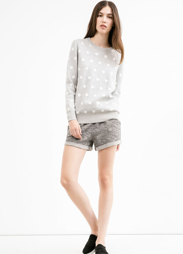 Mélange fleece shorts with drawstring | OVS