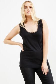 Curvy 100% cotton top with lace, Black, hi-res
